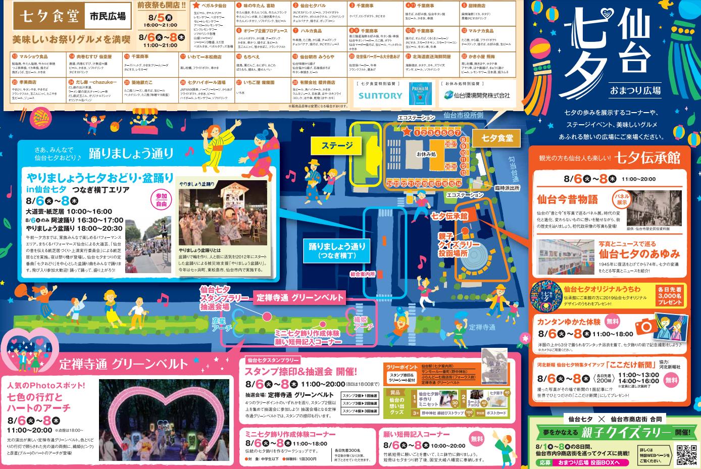 仙台七夕祭りお祭り広場マップ