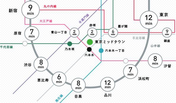 東京ミッドタウン路線マップ