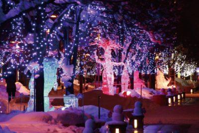 旭川冬まつり氷彫刻ライトアップ