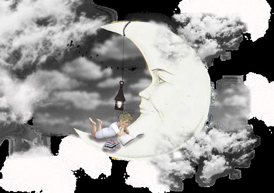 夜の月と子ども