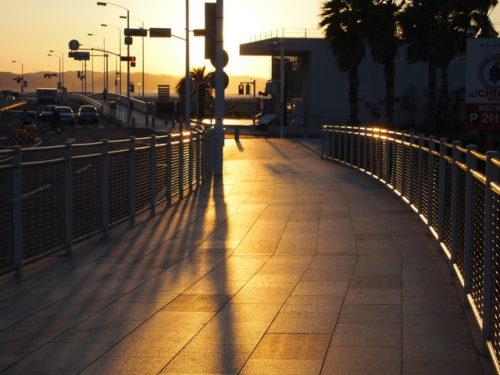 夕日と道路