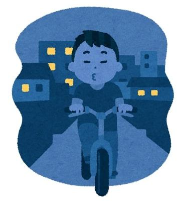 口笛を吹きながら自転車に乗る男性のイラスト