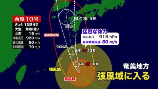 台風10号の天気図