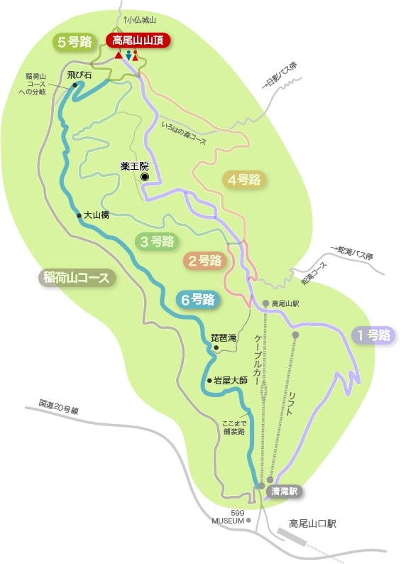 高尾山の登山コースマップ