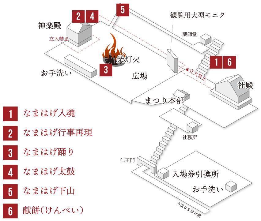 なまはげ柴灯まつり2021会場マップ