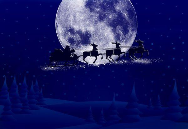 サンタクロースとトナカイと月