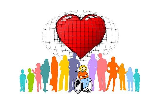 車椅子と大勢の人のイラスト