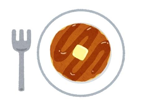 パンケーキとフォークのイラスト
